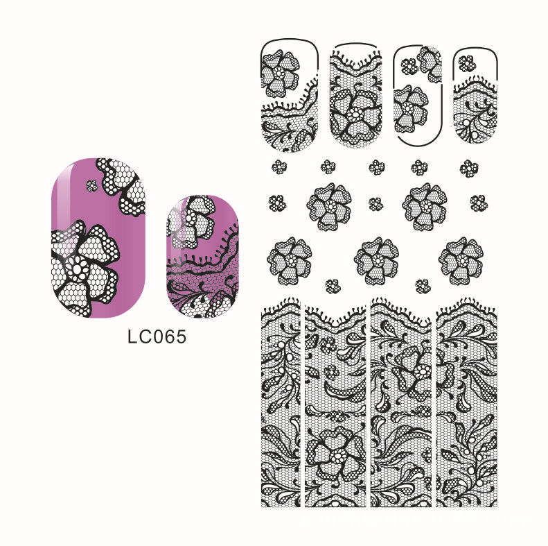 LC65-68 Black New Style Hot Selling Japan Popular 3D Lace Nail Sticker Bride Flower Stickers Currently Available Environmentally