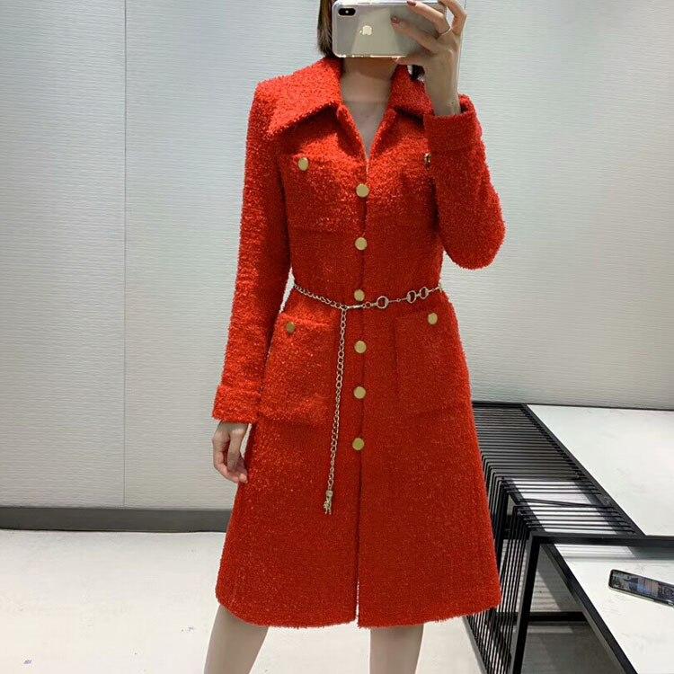 2019 automne et hiver nouvelle mode dames en trois dimensions coupe rouge Long manteau livraison gratuite dans le monde entier - 3
