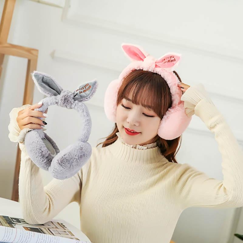 Calymel Lovely Rabbit Ear Fur Winter Earmuffs Ear Warmers Winter Comfort Earmuffs Warm Winter Earmuffs For Women