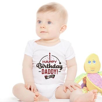 Śpioszki dla niemowląt wszystkiego najlepszego z okazji urodzin tata lato serce dla dzieci dziewczynek odzież kombinezony dla dzieci lato 0-24M noworodka stroje dla dzieci znosić tanie i dobre opinie BraveFist COTTON Poliester Aktywny PF1788 Unisex List O-neck Krótki Pasuje mniejszy niż zwykle proszę sprawdzić ten sklep jest dobór informacji
