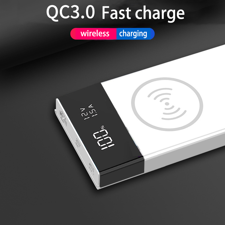 20000mAh QC 3.0 Wireless Charge Power Bank Shell Type-C USB PD Quick Charging Ports Digital Display DIY Powerbank Shell 6*18650
