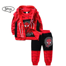 Children Clothes Autumn Winter Baby Boys Clothes SpiderMan T-shirts+Pants 3pcs Sports Suits Costume For Boys Kids Clothes Set cheap KEAIYOUHUO Casual O-Neck Sets Pullover COTTON Polyester Full REGULAR Fits true to size take your normal size Coat cartoon