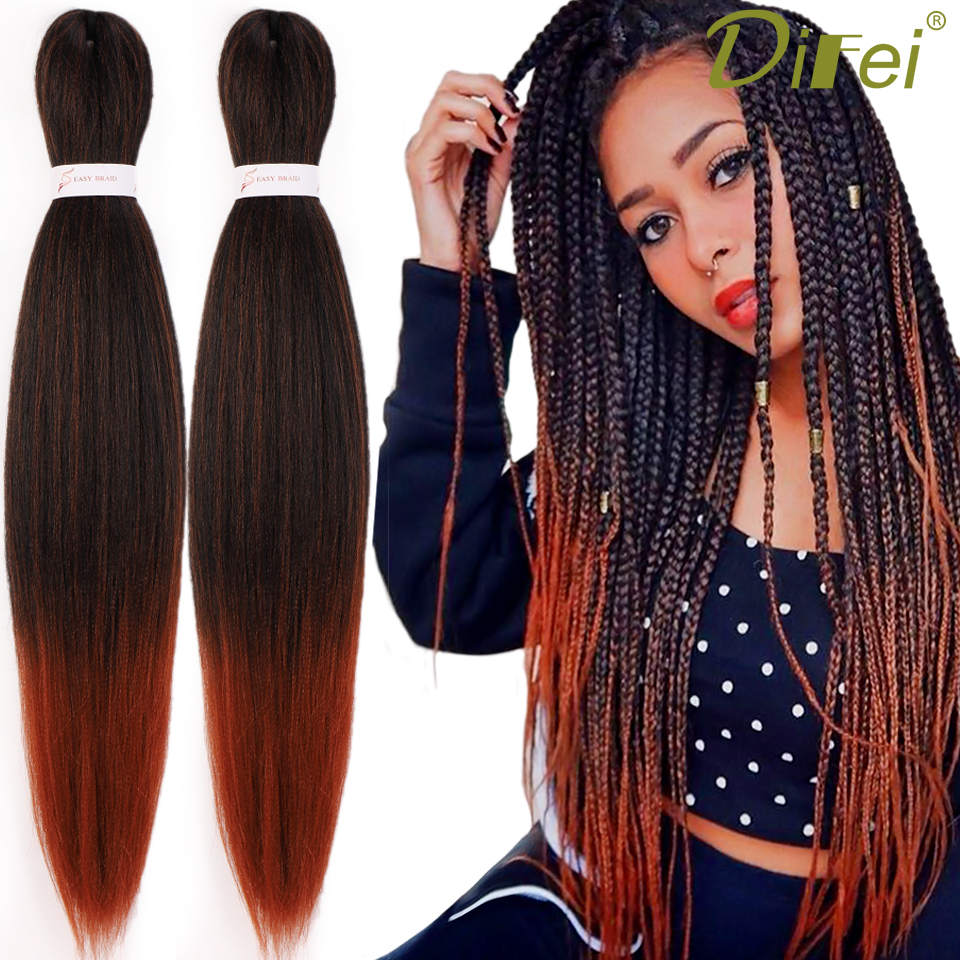 DIFEI 24 Inch Pre Stretched Gray Jumbo Braiding Hair Perm Yaki Straight Synthetic Easy Braids Hair Extensions For Crochet Twist