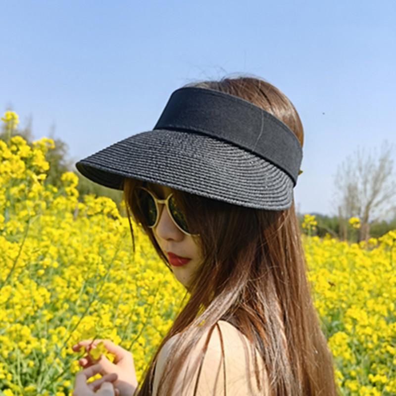 summer hats outdoor sun protective ponytail straw hat face transparent visor cap panama natural raffia bucket summer women hat