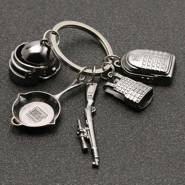 PUBG Keychain Playerunknowns Battlegrounds Backpack Armor Helmet Pan 98k Flare Gun Keyring Key Chain Ring Army Jewelry Wholesale