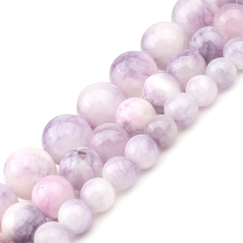 Lavender Light Purple Persian Jade Natural Stone Beads DIY Bracelet Necklace Needlework Beads For Jewelry Making 6 8 10mm 15inch