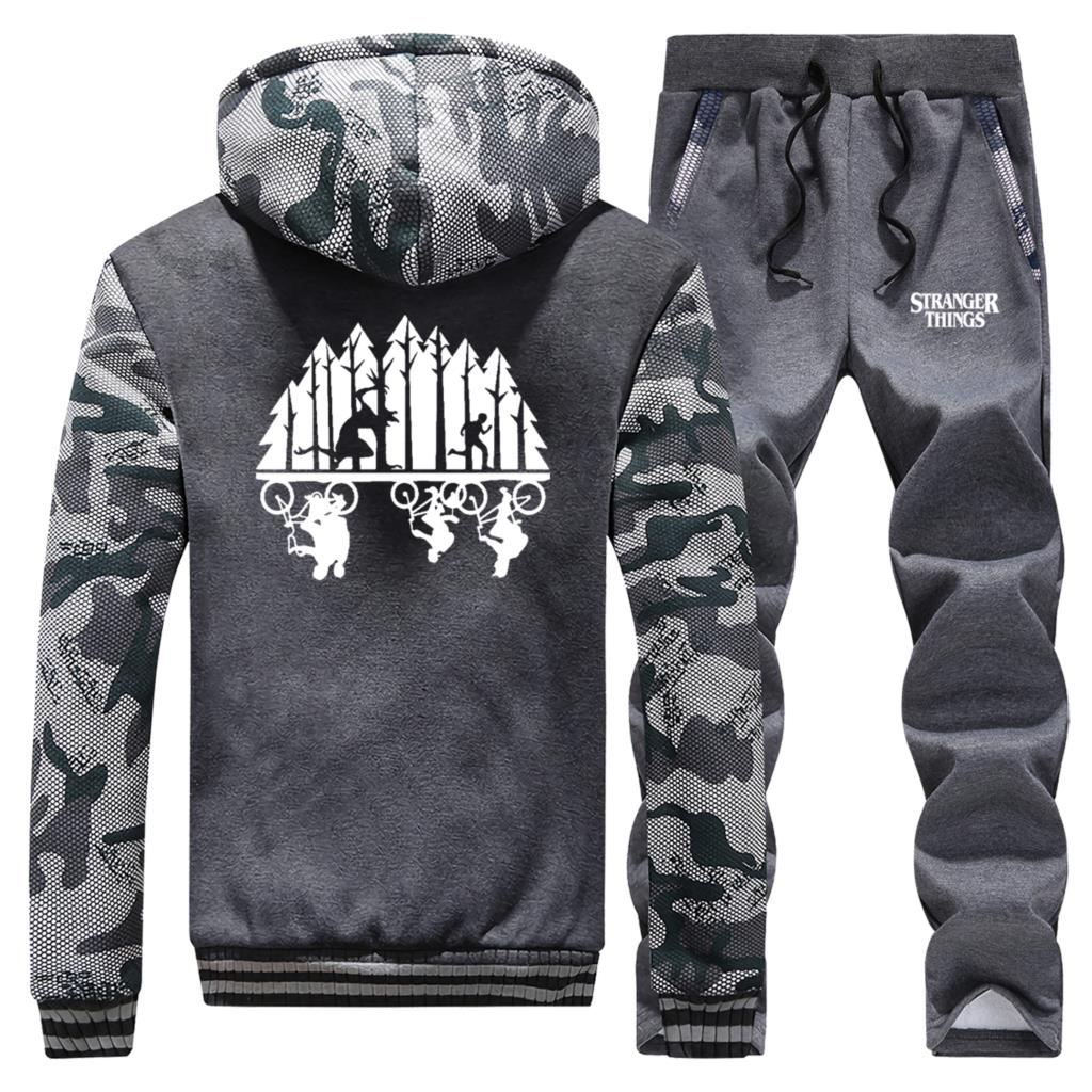 Funny Stranger Things Mens Sweatshirt Camouflage Clothing Winter New Coat Fashion Warm Suit Hoodie+Pants 2 Piece Sets Tracksuit