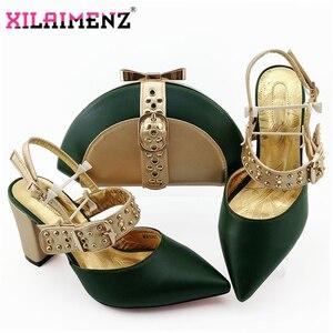 Image 3 - Kraliyet Mavi Yeni Tasarım İtalyan Zarif Ayakkabı Ve Çanta Seti İtalyan Rahat Topuklu parti ayakkabıları Ve çanta seti Düğün Için