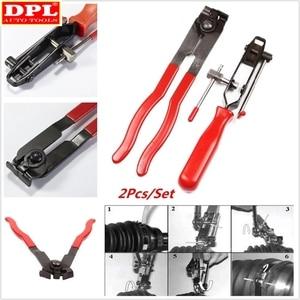 Image 2 - Pince de serrage à Joint métallique 2 CV, outil dinstallation de bande, Type doreille, pince de démarrage, outil manuel en métal rouge + noir