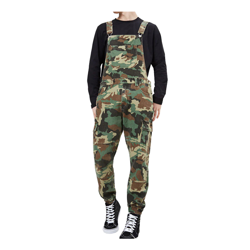 Sokotoo Men's Camouflage Printed Bib Overalls Pockets Cargo Jeans Army Green Military Casual Slim Jumpsuits