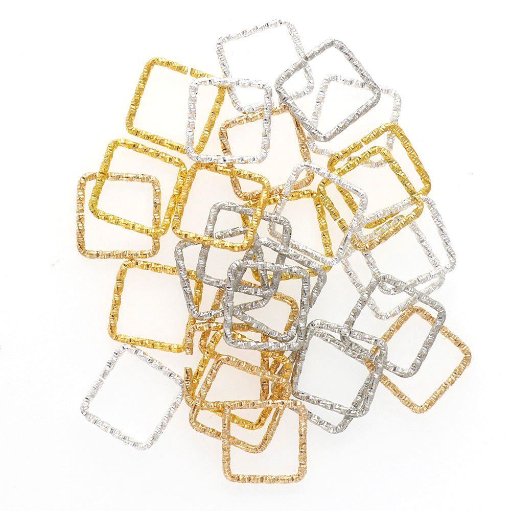 3 Color 13/15mm Korean Style Square Iron Jump Rings Fashion Twisted Open Rings For Diy Fashion Jewelry Accessories 50pieces