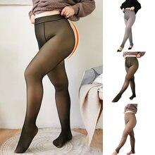Novas pernas falso translúcido quente velo macio leggings grosso elástico para as mulheres 2021 moda leggings feminino mais tamanho