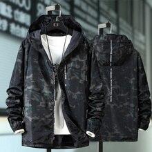 Veste printemps automne homme, coupe vent, Plus 10XL 9XL 8XL 7XL 6XL, décontracté sweater à capuche Camouflage