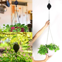2X Retractable Pulley Hanging Basket Pull Down Hanger Garden Baskets Pot