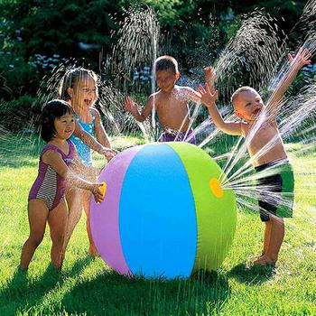 colorful 75CM  Inflatable Spray Water Ball Summer Children's Outdoor Lawn Swimming Beach Inflatable Water Fountain Ball Toy 2 0m dia inflatable water ball water walking ball human hamster ball giant inflatable ball water zorb ball