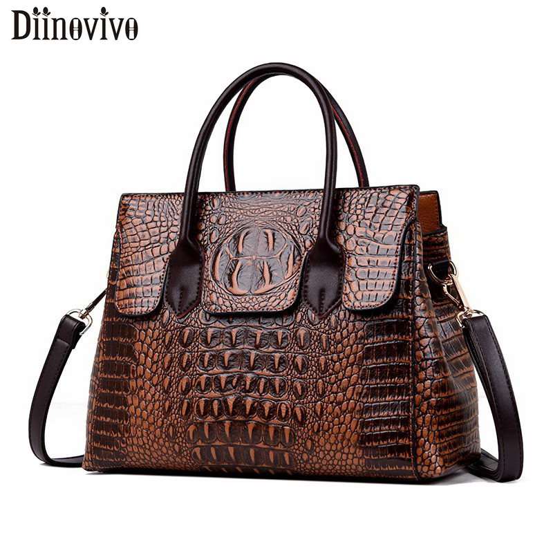 DIINOVIVO Classic Crocodile Pattern Handbag Brand Designer Women Bag  Large Capacity OL Shoulder Messenger Bags Female WHDV1224
