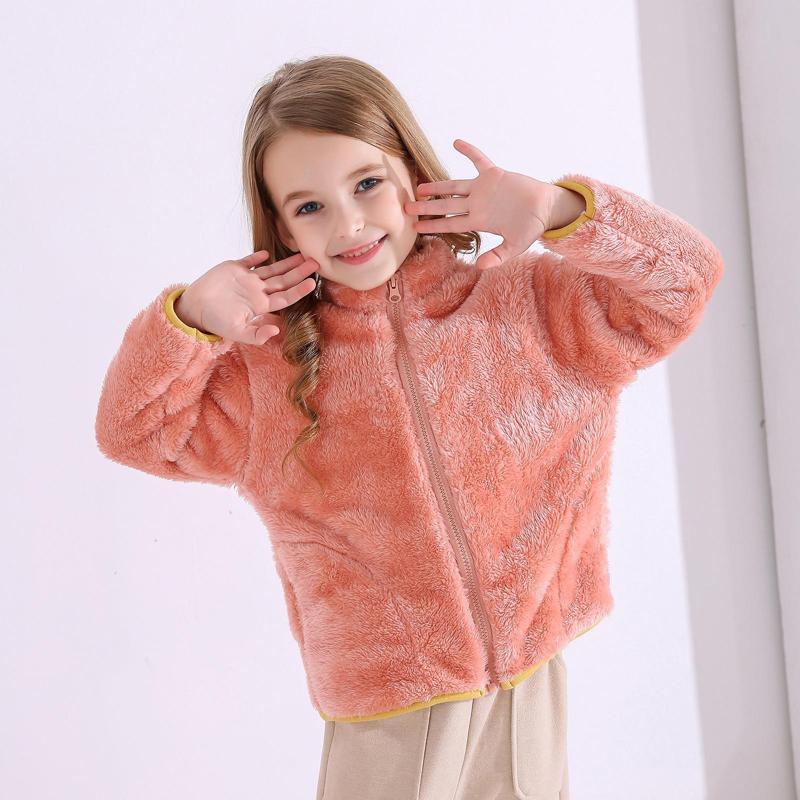Пальто для детей; Детская одежда; Теплые фланелевые Зимние флисовые куртки для маленьких мальчиков и девочек; Толстовка; Плотные пальто; куртка для девочек-1