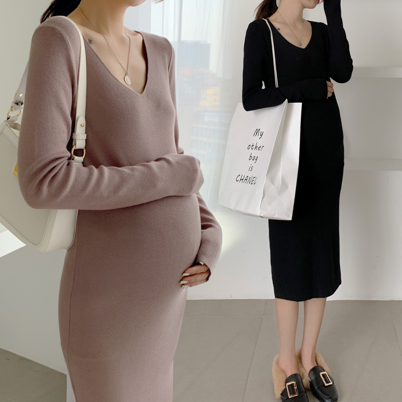 1903# V Neck Bodycon Slim Knitted Maternity Sweaters Dress Autumn Winter Fashion Clothes For Pregnant Women Sexy Long Pregnancy
