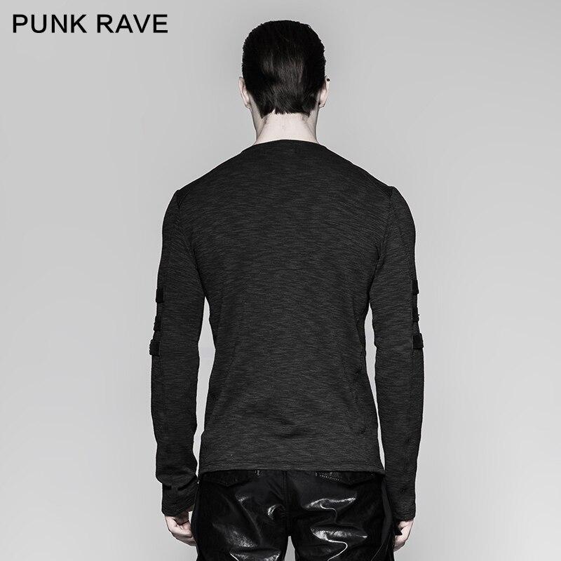 Punk Rave Men's Gothic Steampunk Long Sleeve T shirt Chest Strap Deep V neck Sexy Tops Steampunk Street Cool T shirt - 3
