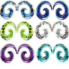 Lot 2pcs Acrylic Fashion Pattern Printing Ear Spiral Taper Jewelry Stretcher Swirl Earring Expander Piercing 2mm-10mm