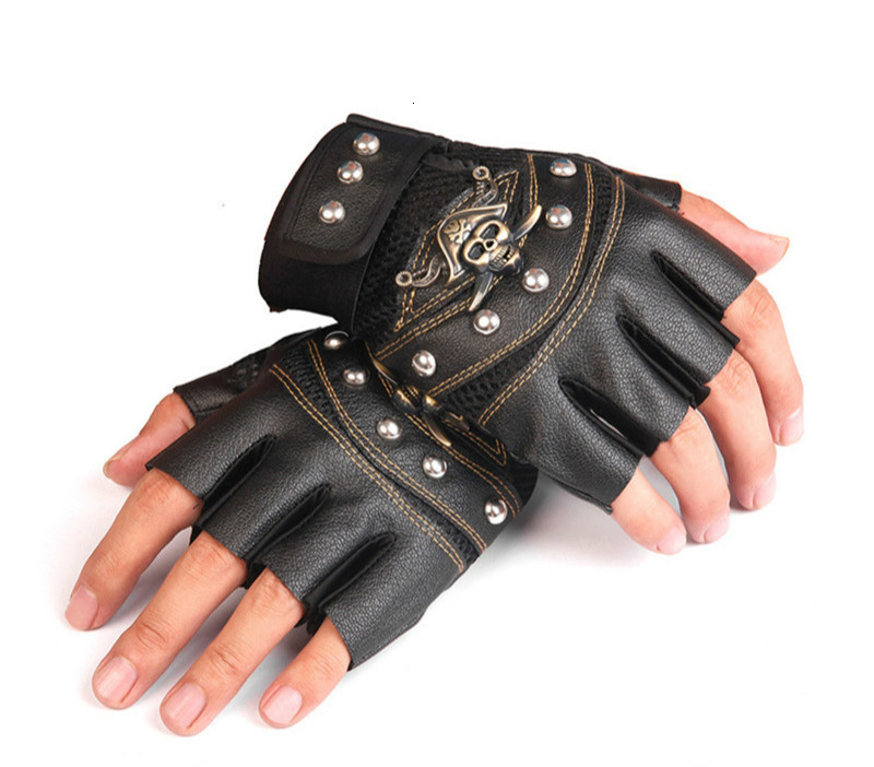 New Cortex Metal Material Pirate Head Half Finger Glove Man Motorcycle Half Finger Glove Winter Exceed Fine Man Glove