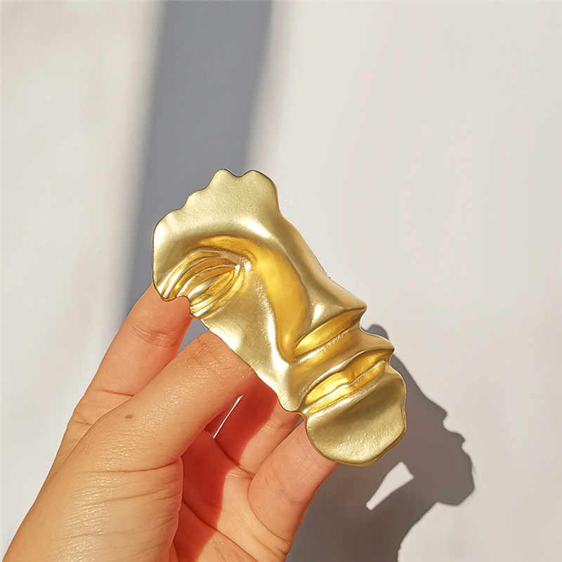 Vintage Spilla Astratta Viso Maschera Spille per Le Donne di Colore Oro Grande Piazza Oro Geometrica Spilla Collare per Uomo di Partito Gioielli