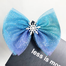 Christmas Snowflake Hair Accessories Crystal Hair Clips Rope Women Winter Hair Ties Girls Princess Hairpins Blue Scrunchies(China)