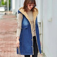 Women Thick Fur Lining Denim Vest Long Hooded Sleeveless Jacket Ladies Casual Streetwear Jeans Outerwear Waistcoat Warm Vests