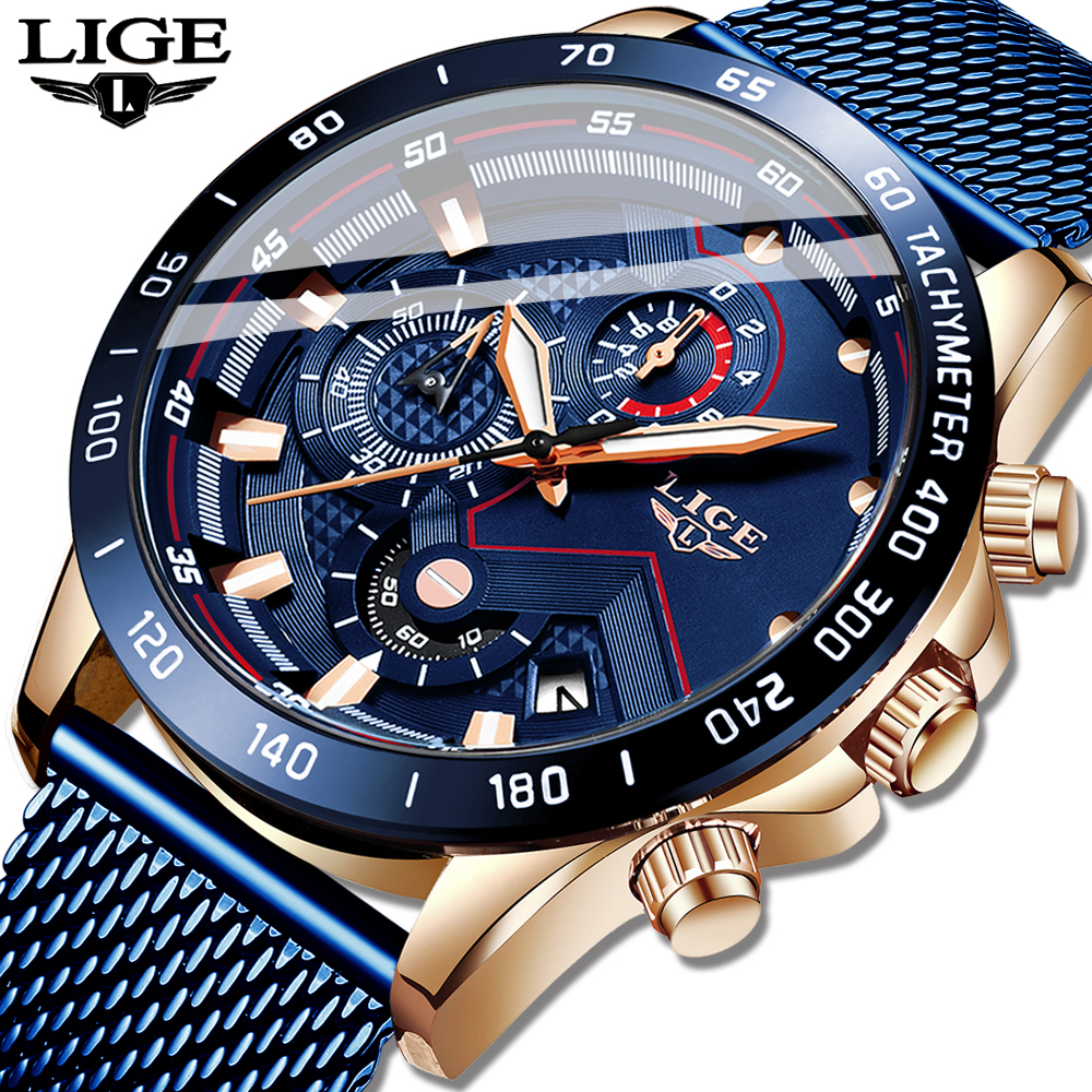 LIGE Fashion New Mens Watches Brand Luxury WristWatch Quartz Clock Blue Watch Men Waterproof Sport Chronograph Relogio Masculino-in Quartz Watches from Watches