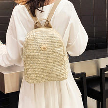 Women Backpack Outdoor Woven Straw Shoulder Bag Crown Zipper Student School Backpack Female Casual Travel Rucksack Mochila 2020(China)