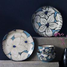 Керамическая посуда в стиле ретро Сервировочная тарелка глубокая