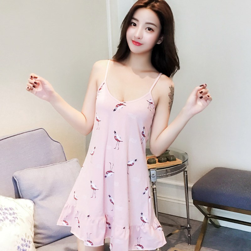 Nightgown Female Summer Thin Cotton Korean-style Fresh Students Sleeveless Pajamas Women's Summer Sexy Camisole Loose-Fit-Outer