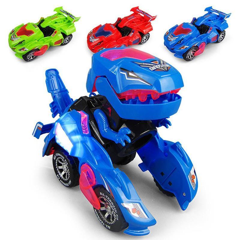 Deformation Electric Dinosour Car Mini Dinosaur Dino Transformation LED Cars Toy Light Wheel Car Jurassic Park Toy