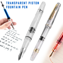 Transparent Piston Fountain Pen Clear Ink Pen EF F Nib Extra Fine Large Capacity Writing SP99 m2 dropper iridium point extra fine transparent fountain ink pens large capacity nib 0 38mm offices students gift box ins style