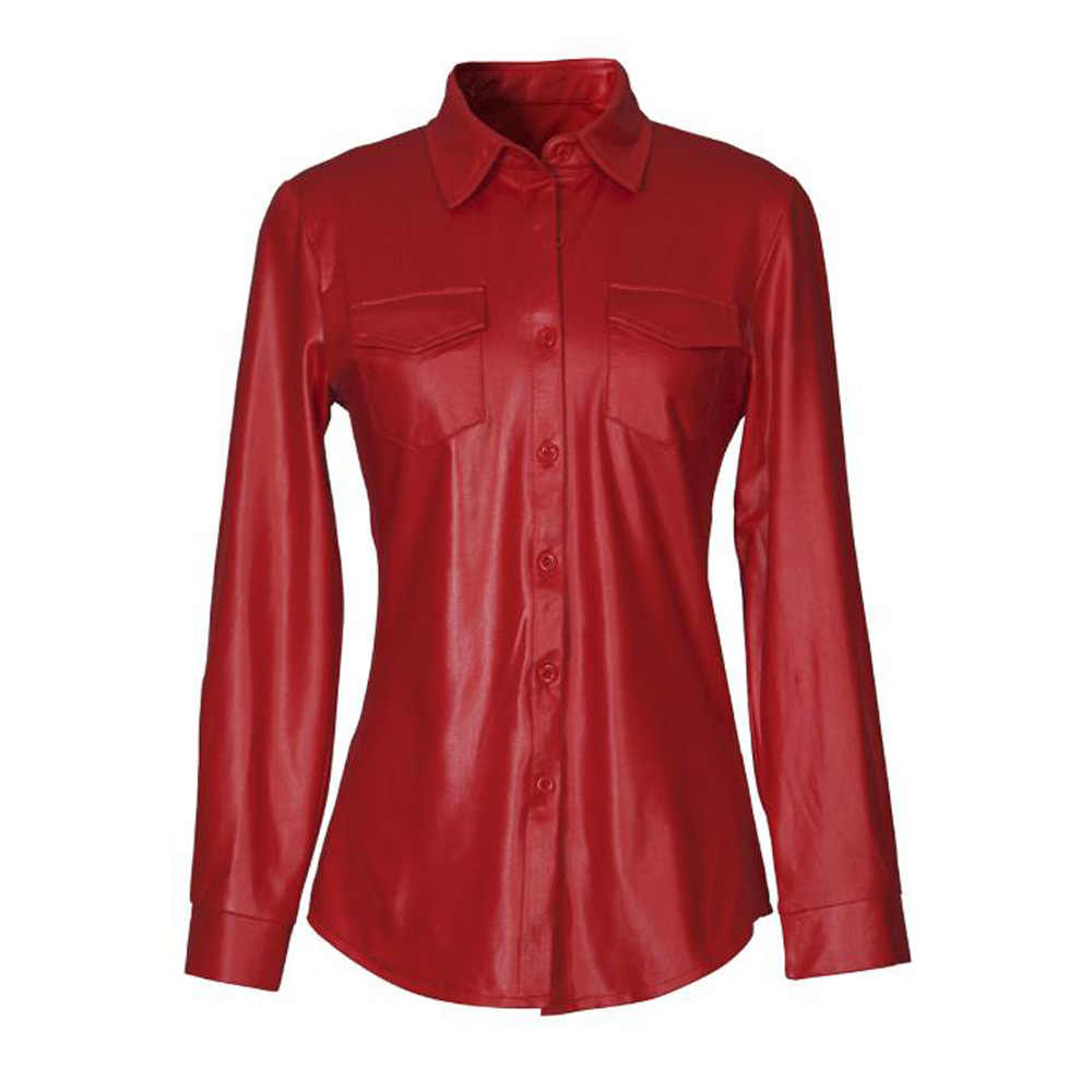 Faux Leather Shirt Women Long Sleeve Single-Breasted Buttons Blouse Turn-Down Collar Blusa Mujer Streetwear Office Women Tops