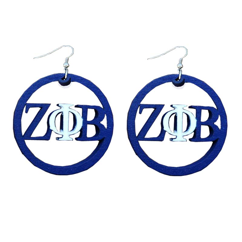 ZETA PHI BETA Sorority Large Wooden Earrings