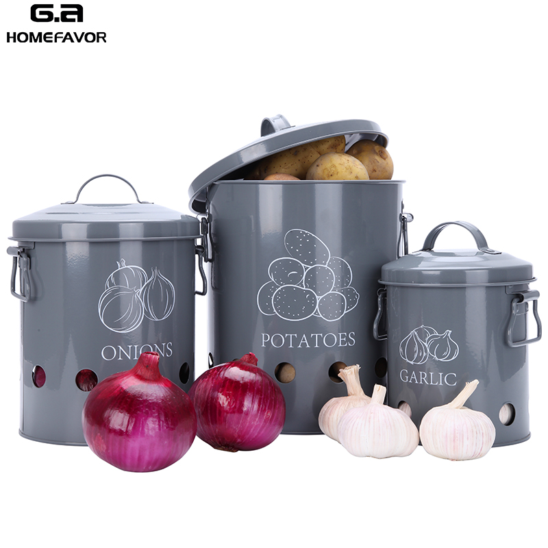 3 Pcs Food Container Storage Bins Garlic Onions Potatoes Box Kitchen Breathable Metal Buckets Factory Custom Boxes Sets