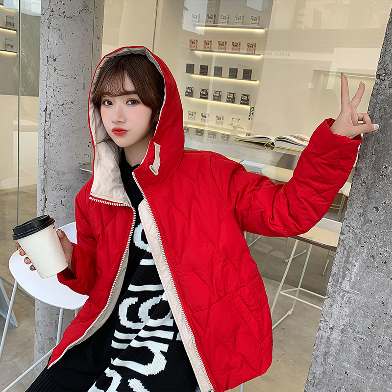 2019 Winter New Short Jacket Women Standing Collar Female Hooded Coat_B1_12