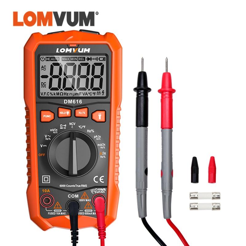 Multímetro digital dm616 de lomvum multímetro 6000 contagens automático variando ac/dc tensão medidor flash luz traseira grande tela tester