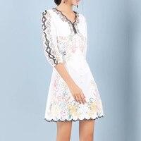 HIGH QUALITY 2020 Newest Fashion Designer Runway Dress Women's V Collar Charming Floral Print Dresss