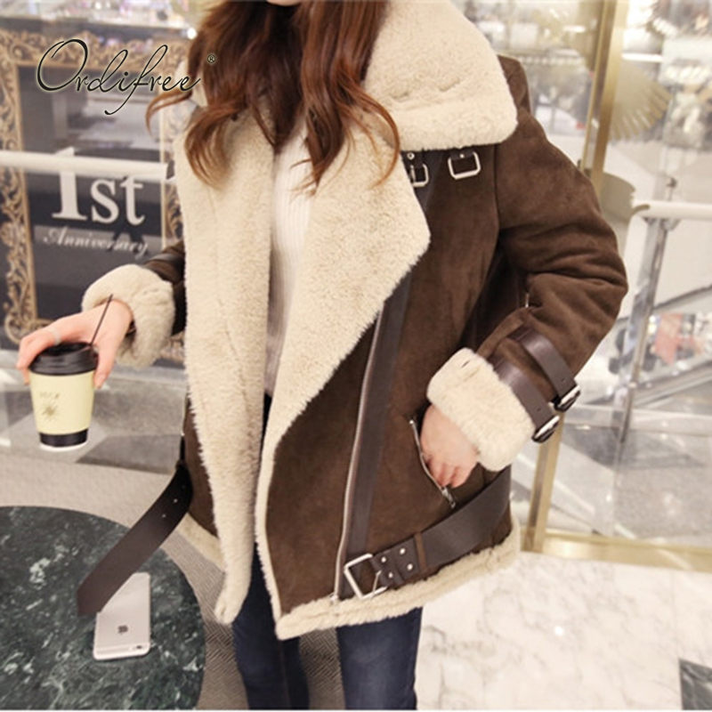 Ordifree 2019 Autumn Winter Women   Leather   Fur Coat Warm Thick Fashion Outwear Army Green Faux   Suede   Jacket