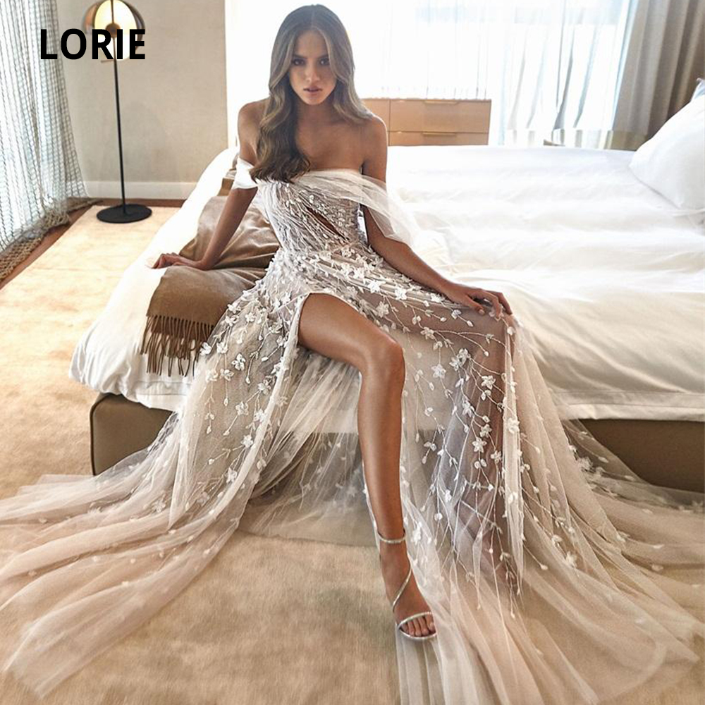 LORIE 2020 Boho Wedding Dresses Off Shoulder Appliqued Beaded Sexy Open Back Bridal Gowns High Split A-line Wedding Gown Beach