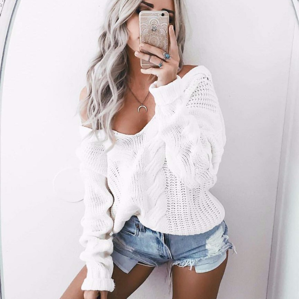 Winter Knitted Sweater Women  Autumn White Pullover Sweater Sexy Deep V Neck Long Sleeve Jumpers Pull Femme Sweter Mujer