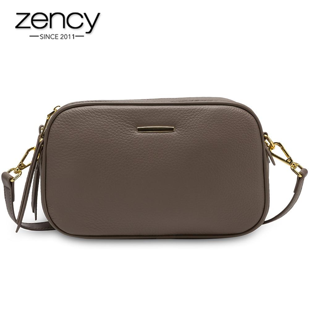 Zency 100% Genuine Leather Fashion Women Crossbody Bag Black Grey Shoulder Bags Small Flap Casual Lady Tote Handbag