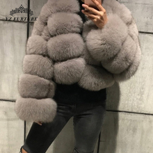 YZ Furture Grey Blue Fox Fur Winter Jackets And Coats Women Short Jacket Fashion Luxury Genuine Natural Fur Female Outerwear cheap Thick Warm Fur Real Fur FC-034-2 Thick (Winter) REGULAR Full Pelt O-Neck Hook Solid Casual Wide-waisted Spring Autumn Winter