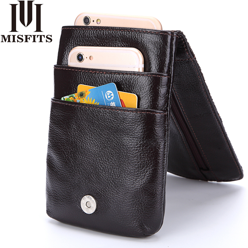MISFITS Luxury Brand Genuine Leather Men Waist Packs With Cowhide Mobile Phone Bags For Male Waist Bags Man Vintage Belt Bag