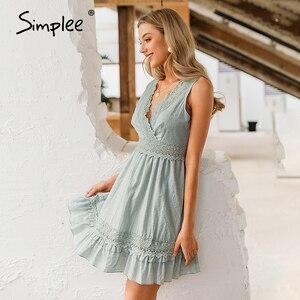 Image 3 - Simplee סקסי v צוואר נשים קיץ כותנה שמלה ללא שרוולים תחרה רקמה קצר שמלה קיצית קיץ חוף גבירותיי לפרוע סקסי שמלות