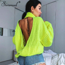 Simenual Knitwear Backless Criss Cross Sweaters Women Neon Yellow Fashion Autumn Pullovers Turtleneck Long Sleeve Solid Jumpers