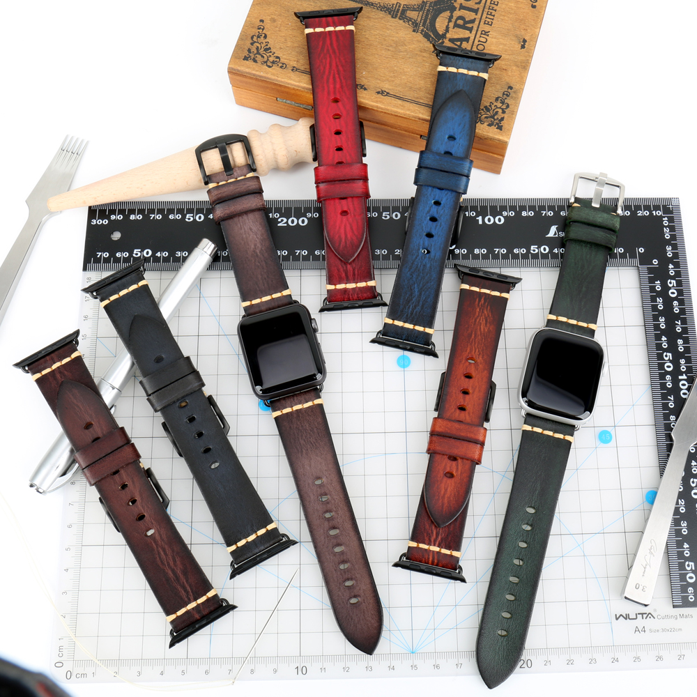 Image 2 - Handmade Italian Cow Leather Strap Watch Band For Apple Watch 44mm 40mm 42mm 38mm Series 5 4 3 2 iWatch WatchbandsWatchbands   -