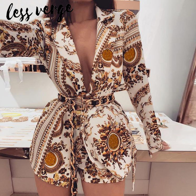Lessverge Paisley Print Gold Women Two Piece Outfits Long Sleeve Sexy V Neck Blazer Coat And Shorts Set Winter Two Piece Set